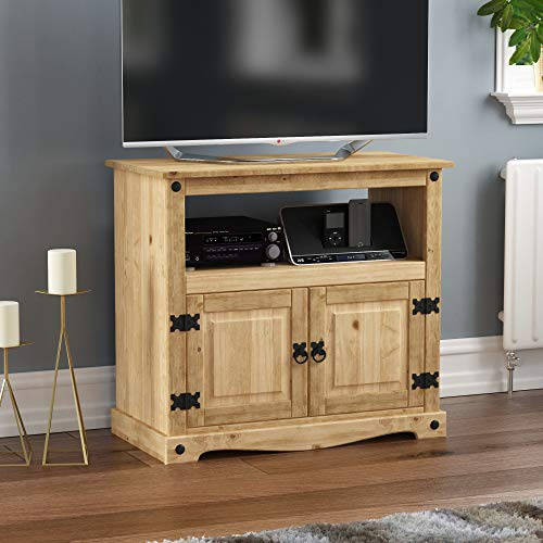 Amazon Brand - Movian Corona TV Cabinet, Straight Unit, Stand With Shelf and Media Storage, Solid Pine Wood