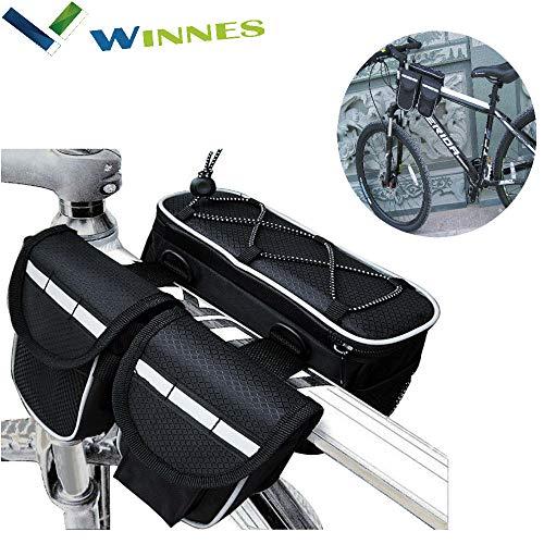 Winnes Fahrrad Rahmentasche, Bicycle Frame Bag wasserdichte Fahrradtasche 4-in-1 Multifunktions-Schlauchpaket Fahrradlenkertasche (Schwarz)