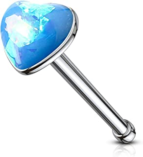 20G Synthetic Opal 316L Surgical Steel Glitter Set 3mm Heart Top Nose Bone Stud Ring