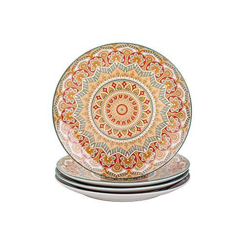 vancasso Serie Mandala Vajilla de Porcelana Juego de 4 Platos Llanos 26.3cm Pintado a Mano Plato Redondo Amarillo
