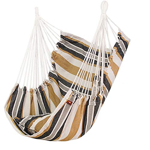 KOLOSM Hammock For Bedroom Hanging Hammock Chair Swinging Seat Travel Camping Home Garden Adults Kids Indoor Thickened Outdoor Swing Chairs With Cushion (Color : No pillow C)