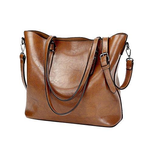 LANDFOX Einfarbig Eimer Tasche Schultertasche Messenger Bag Handtasche Handtasche Groß Damen Handtaschen Für Frauen Umhängetasche Taschen 32cm(L)*12cm(W)*29.5cm(H) (Braun)