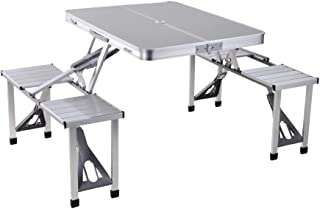 Class Four Seater Foldable Table, Silver - CLDNAL01