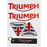 LLAP Motorcycle Keychain for Triumph Sticker Reflective Vinyl Carbon Fiber Decals Set (5 Packs)