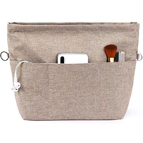 Yoillione Taschenorganizer Bag in Bag Handtaschen Organizer Damen Braun, Wasserdicht Extra Klein Taschen Organisator mit Reißverschluss und Schlüsselanhänger