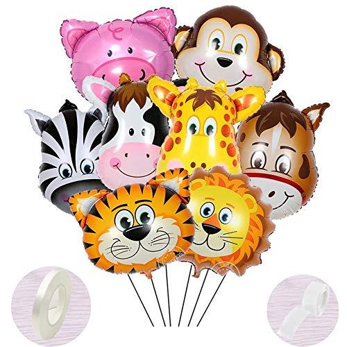 9 Stück Folienballon Tiere Helium set, Aufblasbar Luftballons Dschungel für Baby Junge Kinder Party Dekoration,Riesigen Tierkopf Ballons für1-2-3 -5-6-7-8-9-10 Jahre Geburtstags-deko-geschenk(40-60cm)