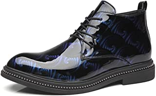 Yajie-shoes store, Combat Boots for Men Ankle Shoes Lace Up Style Patent PU Leather Vamp Waterproof Lined Pointed Toe Block Heel Easy Care Durable Comfortable (Color : Blue, Size : 6 UK)