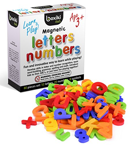 80-teiliges Alphabet Magneten Set | ABC Lernspielzeug | Magnetische Buchstaben und Nummern aus Plastik | Lernspielzeug für Kleinkinder für Buchstaben, Nummern & Farberkennung , von Boxiki Kids