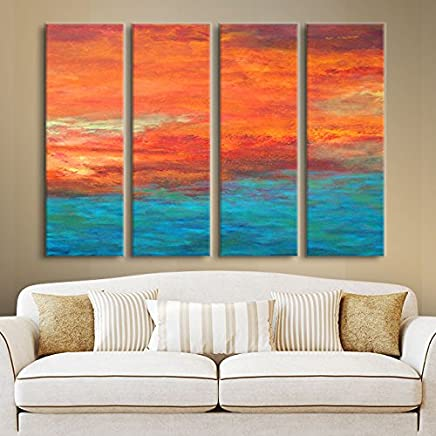 Art Wall Herb Dickinson 'Lake Reflections II' 4-Piece Gallery Wrapped Canvas Artwork, 24 by 32-Inch