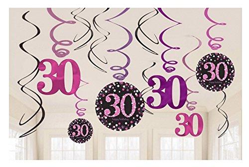 Dekoration zum 30.Geburtstag Swirl-Set 12 Stück Folienspiralen zum Aufhängen pink rosa glitter