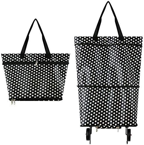 Faltbare Trolley-Taschen, Einkaufstrolley-Tasche mit 2 Rädern, 2-in-1 Einkaufstasche für Zuhause, Supermarkt, hohe Tragkraft