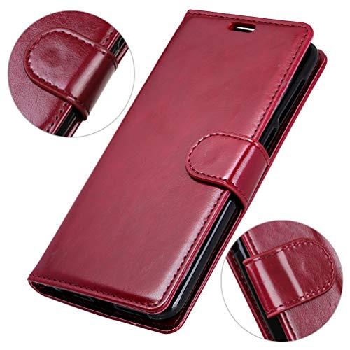 LingDan Schutzhülle für Razer Phone 2 (5,7 Zoll) PU Lederhülle Flip Cover Ledertasche Crazy Horse Muster mit Ständer Magnetverschluss Kartensteckplatz Brieftasche Hülle, Rot