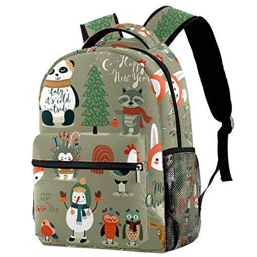 Christmas Forest Cartoon Animal Owls Panda Fox Backpack for Teens School Book Bags Travel Casual Daypack