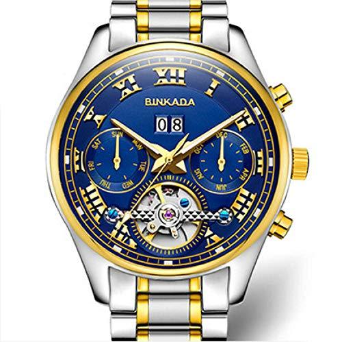 AIZHIJIA Skeleton Mechanical Watch Tourbillon Relojes para Hombres Reloj para Hombres Relojes Automáticos Dorados Reloj para Hombres Oro Azul