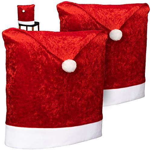 com-four® 2X Hochwertige Stuhlhussen für Weihnachten - Weihnachtsdeko für Stühle - Premium Stuhlabdeckung im weihnachtlichen Design - Stuhlbezug