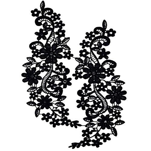 Ausschnitt Spitzenkragen Spitzenborte Spitze Applikation Kleid nähen DIY Blumenspitze Applikation Gestickten Guipure Hochzeit Spitzemotiv Patches - Schwarz