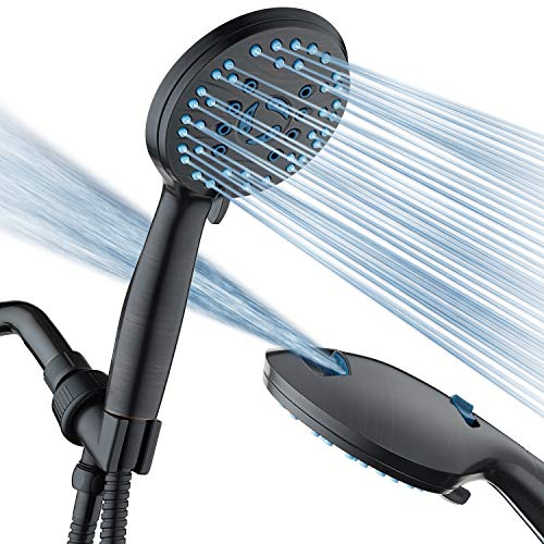 AquaCare AS-SEEN-ON-TV High Pressure 8-mode Handheld Shower Head - Antimicrobial Nozzles, Built-in Power Wash to Clean Tub, Tile & Pets, Extra Long 6 ft. Stainless Steel Hose, Wall & Overhead Brackets