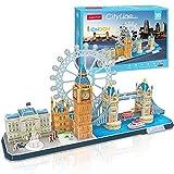 CubicFun 3D Puzzle Cityline London Architecture Building Model Kits, Buckingham Palace, Big Ben, London Eye, Tower Bridge 3D Puzzles for Adults and Children, 107 Pieces
