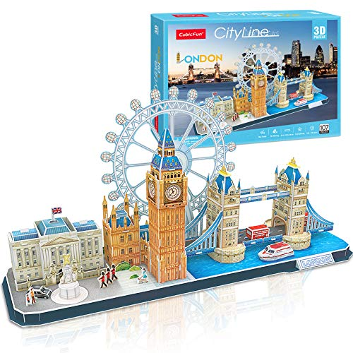CubicFun 3D Puzzle Cityline London Architecture Building Model Kits, Buckingham Palace, Big Ben, London Eye, Tower Bridge 3D Puzzles for Adults and Children, 107 Pieces