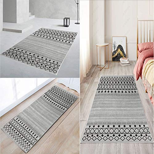 FKYUH Teppich Flur Läufer Flur Korridor Kurzflor Brücke Modern rutschfest Waschbar grau Geometrisch Benutzerdefinierte Länge 60x100cm (Size : 60x200cm)