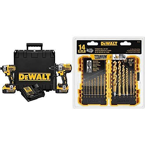DEWALT DCK299P2 20V MAX XR 5.0Ah Premium Cordless Hammerdrill & Impact Driver Combo Kit with DW1354 14-Piece Titanium Drill Bit Set