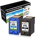 INKMAKE 21 22 Cartucho de tinta de repuesto para HP 21XL 22XL Uso para HP Deskjet F4180 F2280 F380 F2180 D2460 D2360 3940 D1460 D1530, HP Fax 3180, HP PSC 1410 402 Impresora (2 unidades).