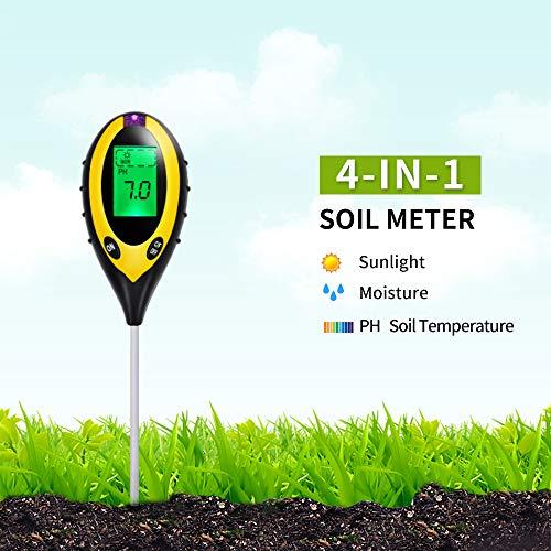 Bojecher 4-in-1 Bodentester für pH-Wert, Feuchtigkeit, Sonnenlicht und Bodentemperatur, Feuchtigkeit, pH-Messgerät