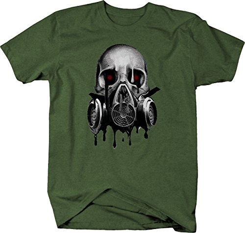 Melting Skull Gas Mask Blood Red Eyes Graphic T Shirt for Men 2XL