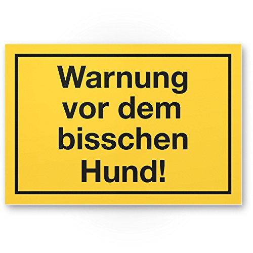 Komma Security Warnung vor dem Bisschen Hund - lustiges Hunde Kunststoff Schild Hinweisschild Grundstück - Türschild Haustüre Warnschild kleine süße Hunde - Achtung Hund witzig
