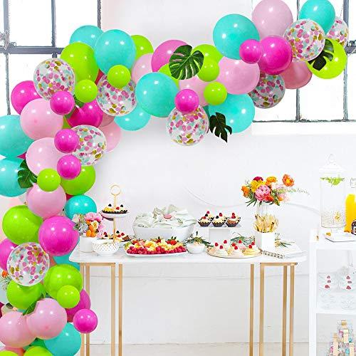 Juego de globos de guirnalda, juego de 112 globos de helio de confeti con tiras de herramientas de hojas de palma, para cumpleaños, selva, temática tropical, Hawaii Luau Beach Party Decoraciones ✅