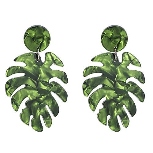 Acrylharz Gesprenkelte Ohrringe Bohemien Statement-Stud Fallen Ohrhänger Schildpatt Creolen für Frauen Mädchen Grün