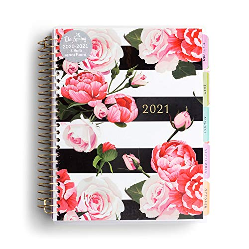 DaySpring Floral & Stripes - 2020-2021 Planner - Academic Weekly & Monthly Agenda Planner with Tabs, Interior Pocket and Note Pages