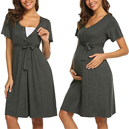 ADOME Frauen Pflege/Geburt/Krankenhaus Nachthemd Kurzarm Nachthemd Umstandsnachthemd mit Knopf Stillnachthemd für Schwangere und Stillzeit, B-grau, M