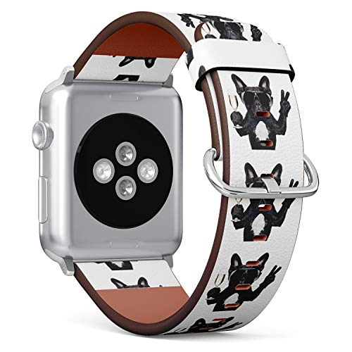 (Funny French Bulldog Holding Wine Glass) Patterned Leather Wristband Strap for Apple Watch Series 4/3/2/1 gen,Replacement for iWatch 42mm / 44mm Bands