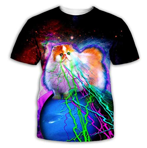 Creative Color Print Animal Cat Niños Y Niñas Camiseta 3D Impreso Manga Corta Top Casual