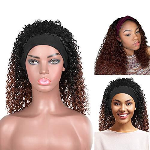 YMHPRIDE Parrucche con fascia da 20 pollici per donne nere Parrucca sintetica riccia ondulata Parrucca updo con fascia per capelli