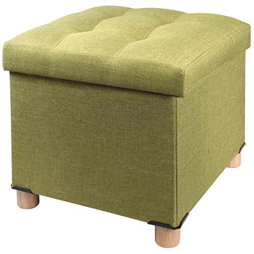 BRIAN & DANY Sitztruhe Sitzhocker Fußhocker mit Stauraum und Deckel mit Holzfüßen, 38 x 38 x 40 cm, Grün