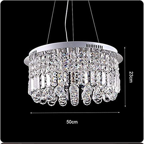 Jkckha norte de Europa Lámparas colgantes moderna K9 araña de cristal, luz de techo for el dormitorio sala de estar o estudio Diámetro 50 cm Alto 23 cm Iluminación para el hogar