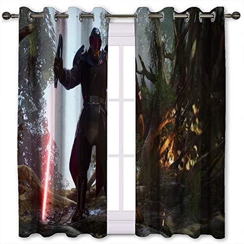 SSKJTC Cortinas con cancelación de ruido Jedi Fallen Order Zefo Star Wars patrón de impresión cortinas para habitación de niñas (160 x 140 cm)