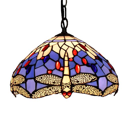 Tiffany Chandelier/Kunsthandwerk/Stained Glass/Blue Dragonfly/Wrought Iron Ceiling Platte/12 Zoll Lampe E27
