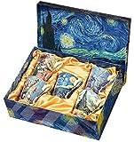 Van Gogh Bone China Set of 5 Large Mugs for Coffee and Tea, With Gift Box, 12 -Ounce Art Coffee and Tea Mugs Set