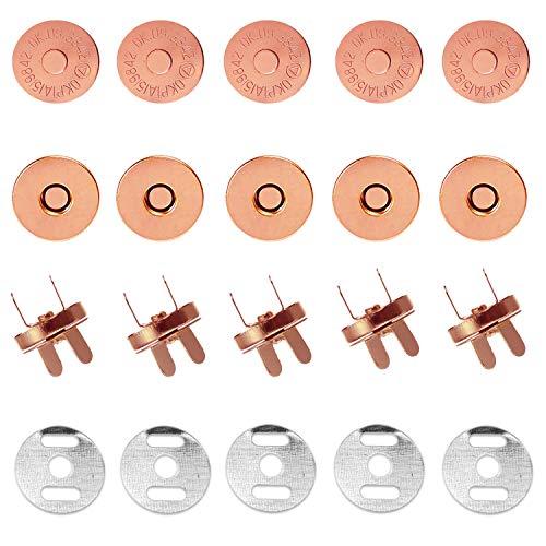 Trimming Shop Cierre magnético de oro rosa de 20 x 18 mm para bolsos, bolsos, costura y reparación de ropa, cierre con piezas macho y hembra, cierre de botón con 2 arandelas de metal en el respaldo