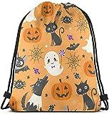 Elsaone Mochilas con cordón Bolsas Patrón Lindo de Halloween Mochila de Almacenamiento Escolar Ligera Unisex de 36 x 43 cm / 14,2 x 16,9 Pulgadas