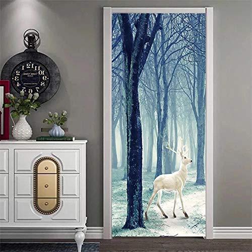 CJZYY 3D Tree Deer Door Self-Adhesive Door Murals Sticker Wall Room Decal Gift 90x200cm