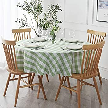 maxmill Round Checkered Tablecloth Spillproof Antiwrinkle Heavy Weight Gingham Table Cloth for Circular Table Cover Buffalo Plaid for Buffet Banquet Parties Holiday Dinner 90 Inch Mint and White