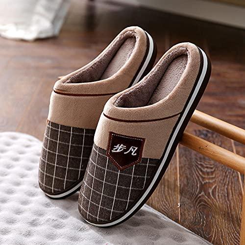 Kirin-1 Pantuflas Animales,Zapatillas de algodón para Hombres de Gran tamaño Invierno Térmico de Interior Grueso 49 más Velvet 50 Zapatillas para el hogar Hombres-marrón_39-40