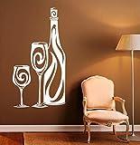ganlanshu Weinflasche Muster wandtattoo Vinyl Glas haushaltswaren Moderne heimtextilien küche Design weinflasche Aufkleber 34 cm x 63 cm