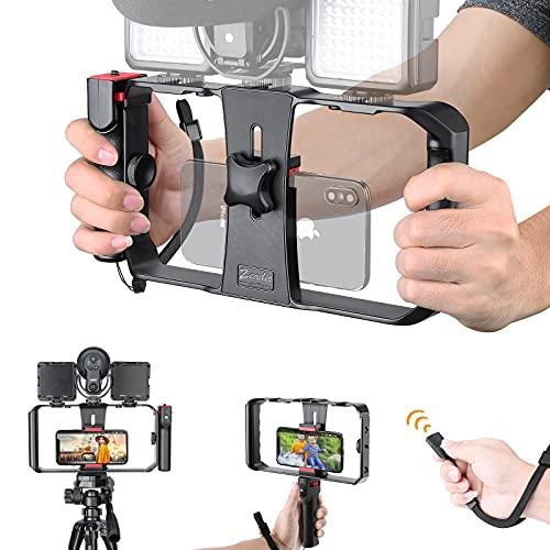 Zeadio 2-in-1 Smartphone Video Rig, Soporte de Montaje en trípode de teléfono móvil con estabilizador de Agarre inalámbrico, se Adapta a Todos los teléfonos Inteligentes iPhone y Android