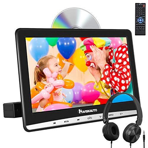 NAVISKAUTO 12 Car DVD Player with Headphone Mounting Bracket 1366x768 HD Screen Inhalation Drive Support Sync Screen AV in & Out Last Memory Region Free