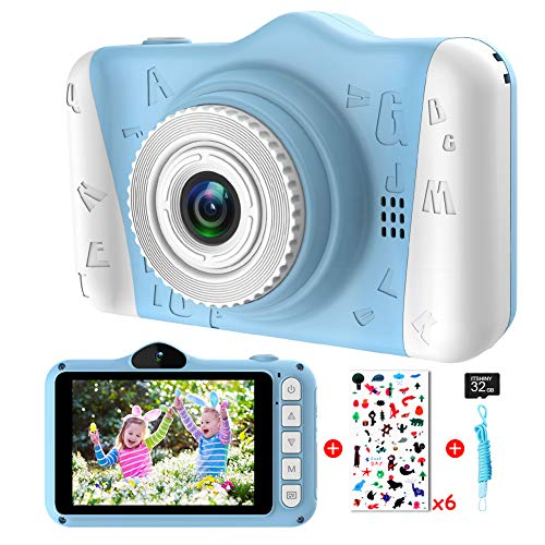 Kids Camera - Digital camera for kids with 3.5 inch Large Screen 1080P HD 12MP Built-in 32GB SD Card USB Rechargeable Selfie Camera for Girls Boys Birthday Christmas New Year Gifts Children Toys Blue